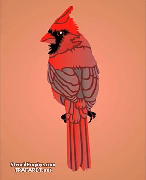 Трафарет птички Красный Кардинал 1