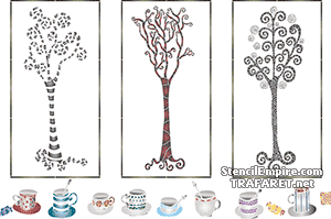 Трафареты Чайный триптих