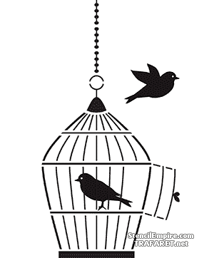 Трафарет Клетка с птичками