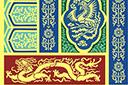 Трафарет Большая панель с драконами