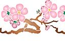 Ветка сакуры с цветами В