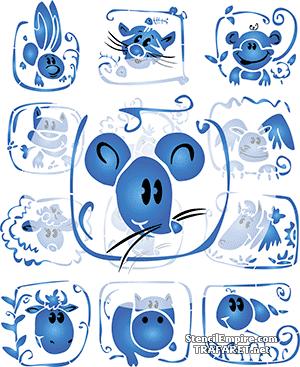 Трафарет Веселая мышка