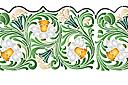 трафарет Широкий бордюр из нарциссов в листьях